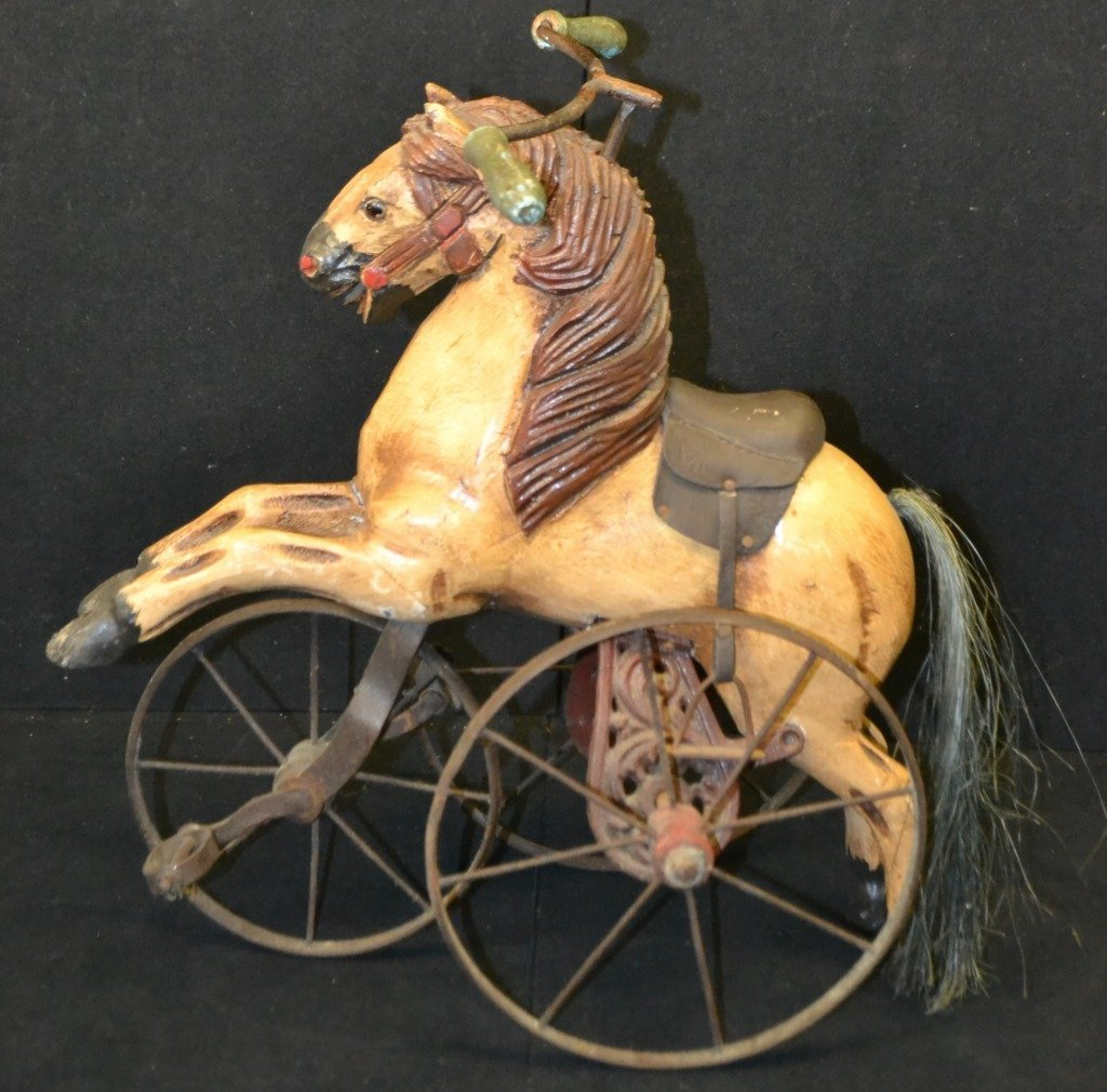 Antique Style Miniature Wooden Horse Tricycle - 2