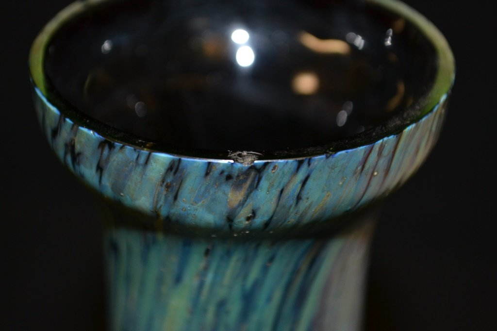 Motted Peacock Glaze Vase - 3