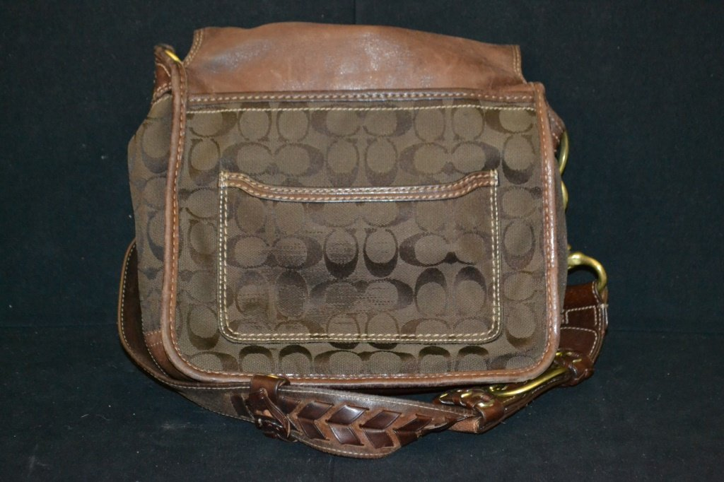 Brown Coach Cloth Purse - 2