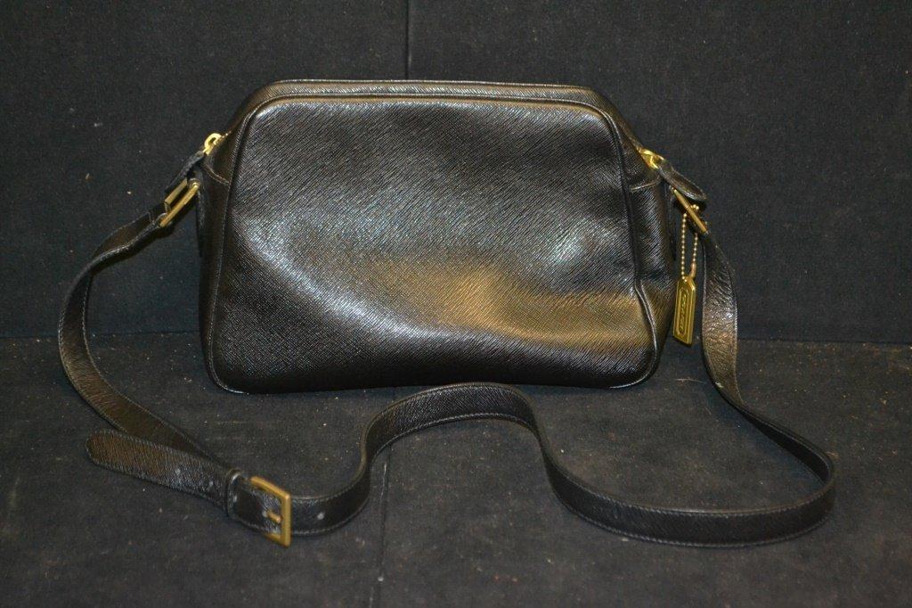 Vintage Black Leather Coach Bag - 3