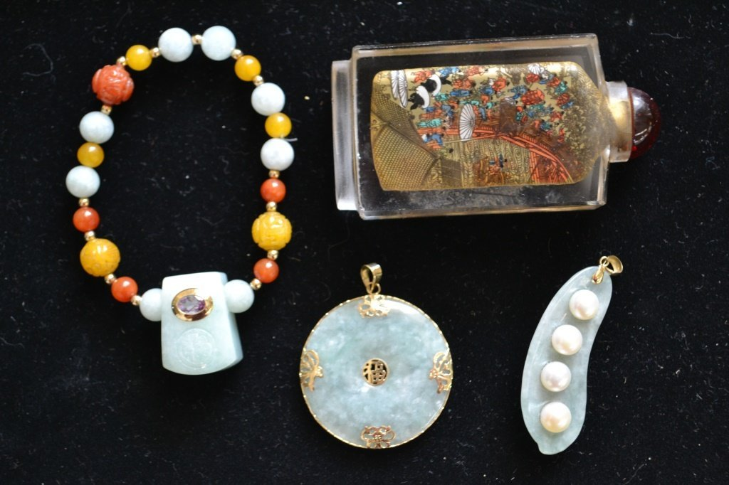 Detailed Asian Perfume, Jade Pendants and Bracelet