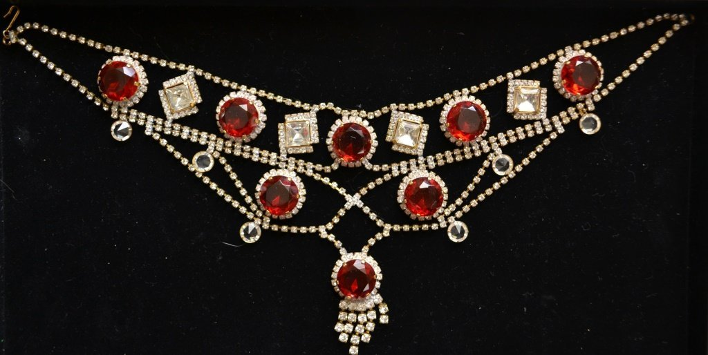 Vintage Czech Red & Clear Crystal Bib Necklace