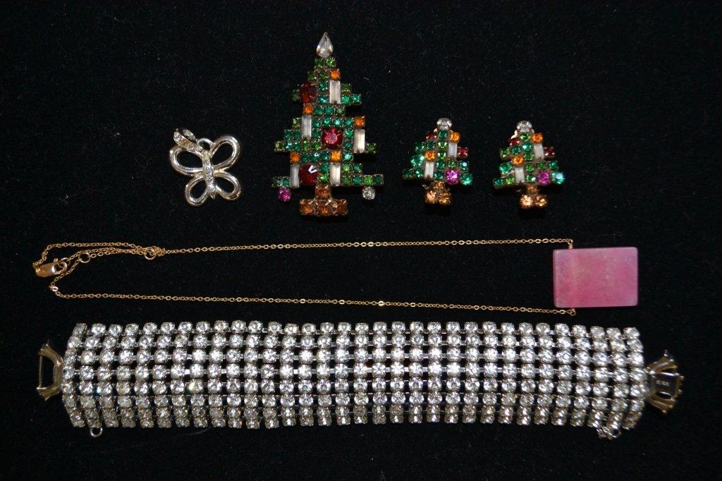 Christmas Tree Pin, Earrings, Bracelet, Necklace