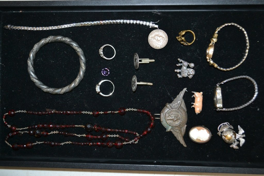 Sterling Items, Cuffs, Pin, Cameo, Ring Etc