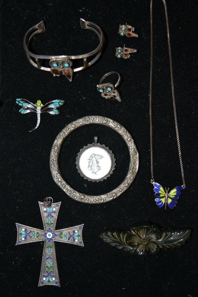 Sterling Bangle, Owls, Cross, Etc