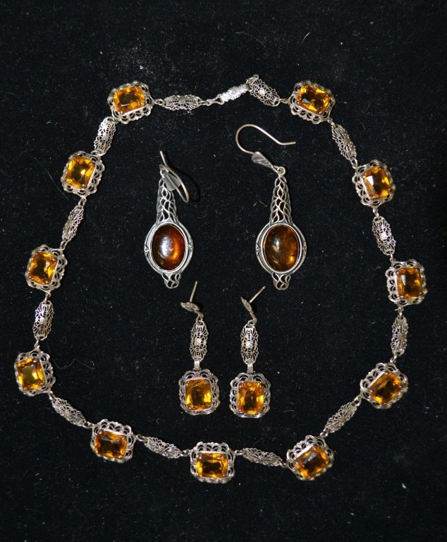 Sterling Silver Deco Necklace & Earrings
