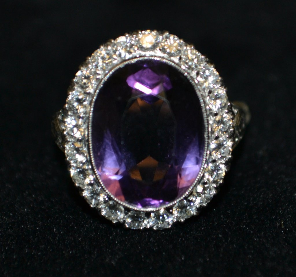 Platinum Genuine Amethyst w/ Diamond Accent Ring