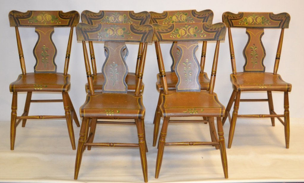 PA Set of 6 Mid 19th C Paint Decorated Chairs