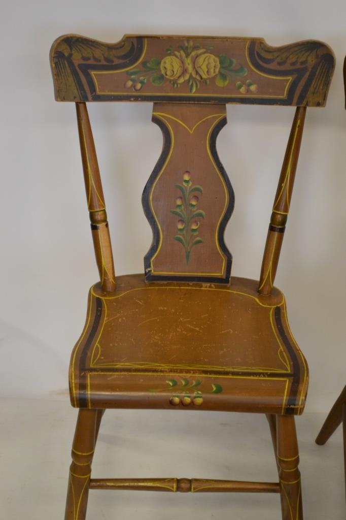 PA Set of 6 Mid 19th C Paint Decorated Chairs - 2