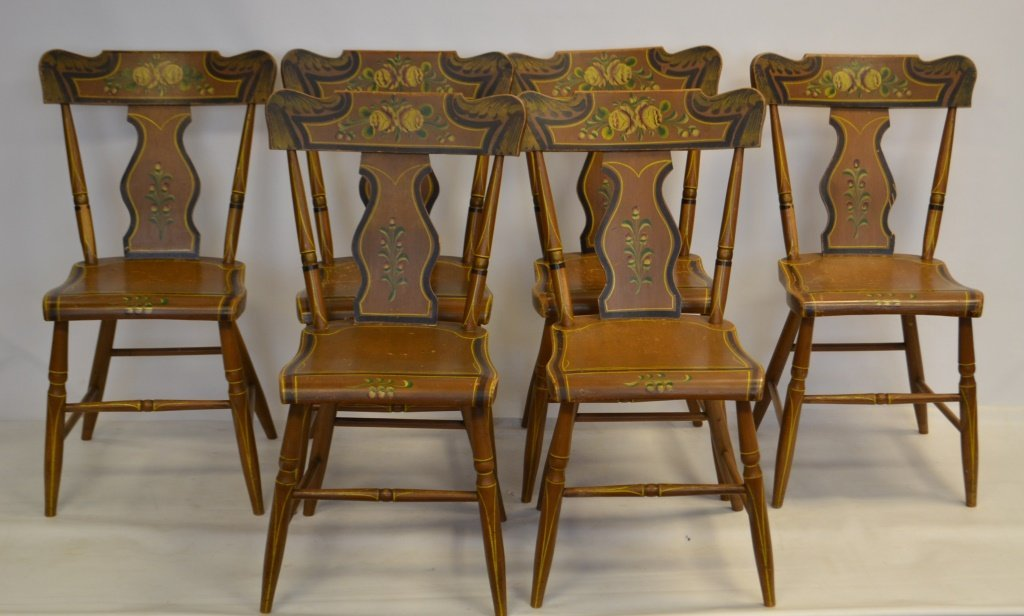 PA Set of 6 Mid 19th C Paint Decorated Chairs - 3