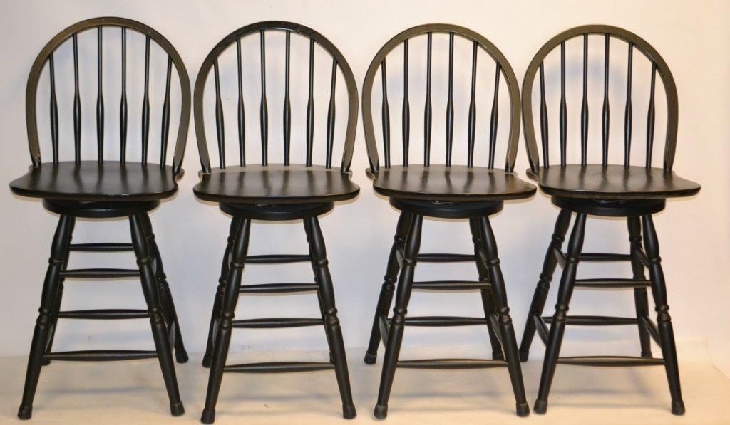 Four Windsor Style Swivel Stools