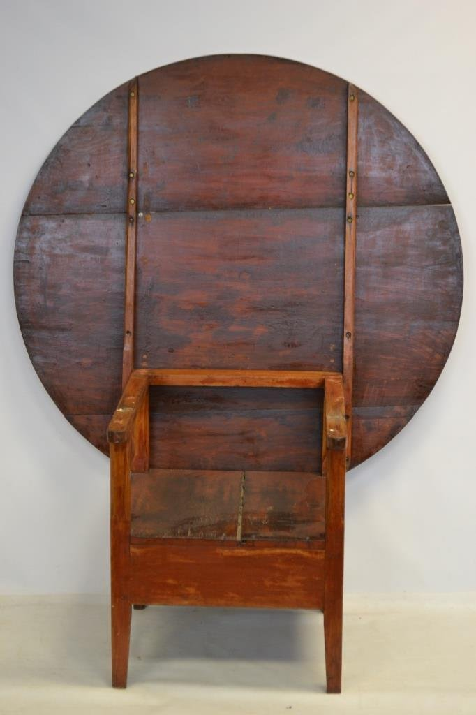 19th C Round American Bench Table