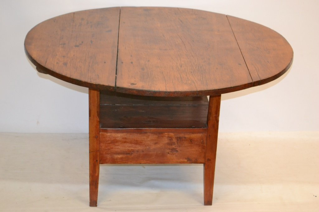 19th C Round American Bench Table - 2