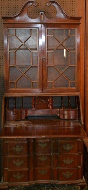 Mahogany Antique Style Block Front Secretary Desk