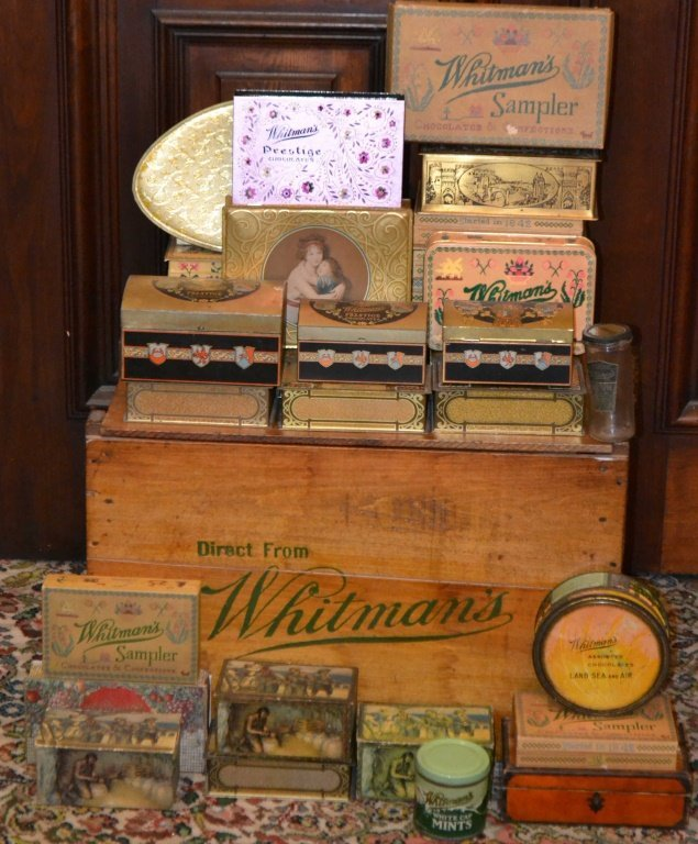 Whitman's Wooden Shipping Crate w/ Tins & Boxes