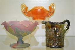 Two Carnival Glass Pieces  Other Art Glass