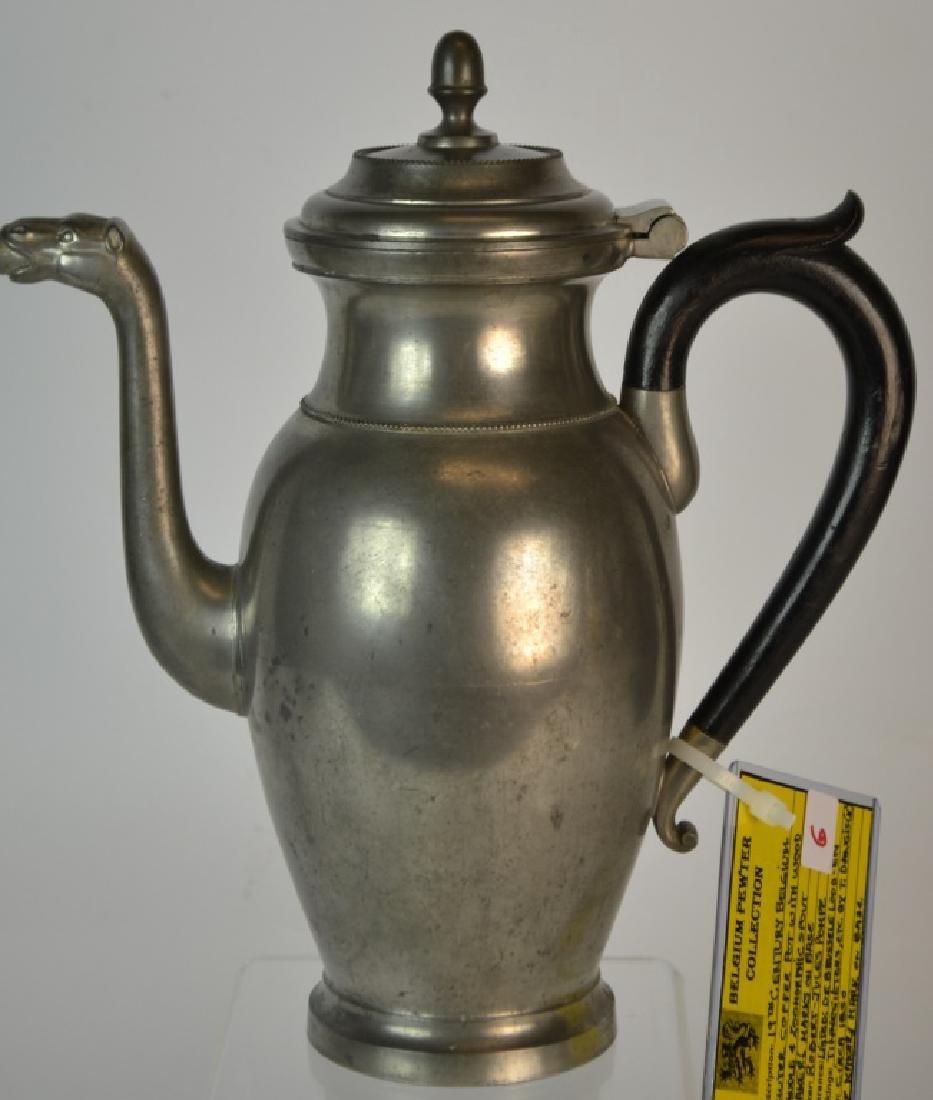 19th Century Belgium Pewter Coffee Pot