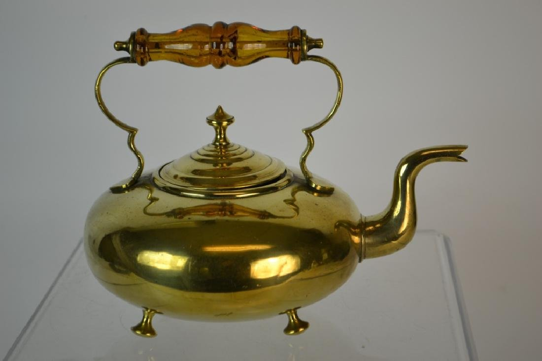 19th C English Brass Tea Kettle w/ Amber Glass