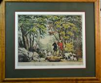 19th C Currier  Ives Morning in the Woods Litho