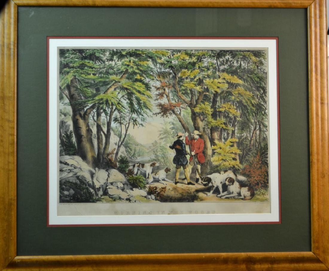 """19th C Currier & Ives """"Morning in the Woods' Litho"""
