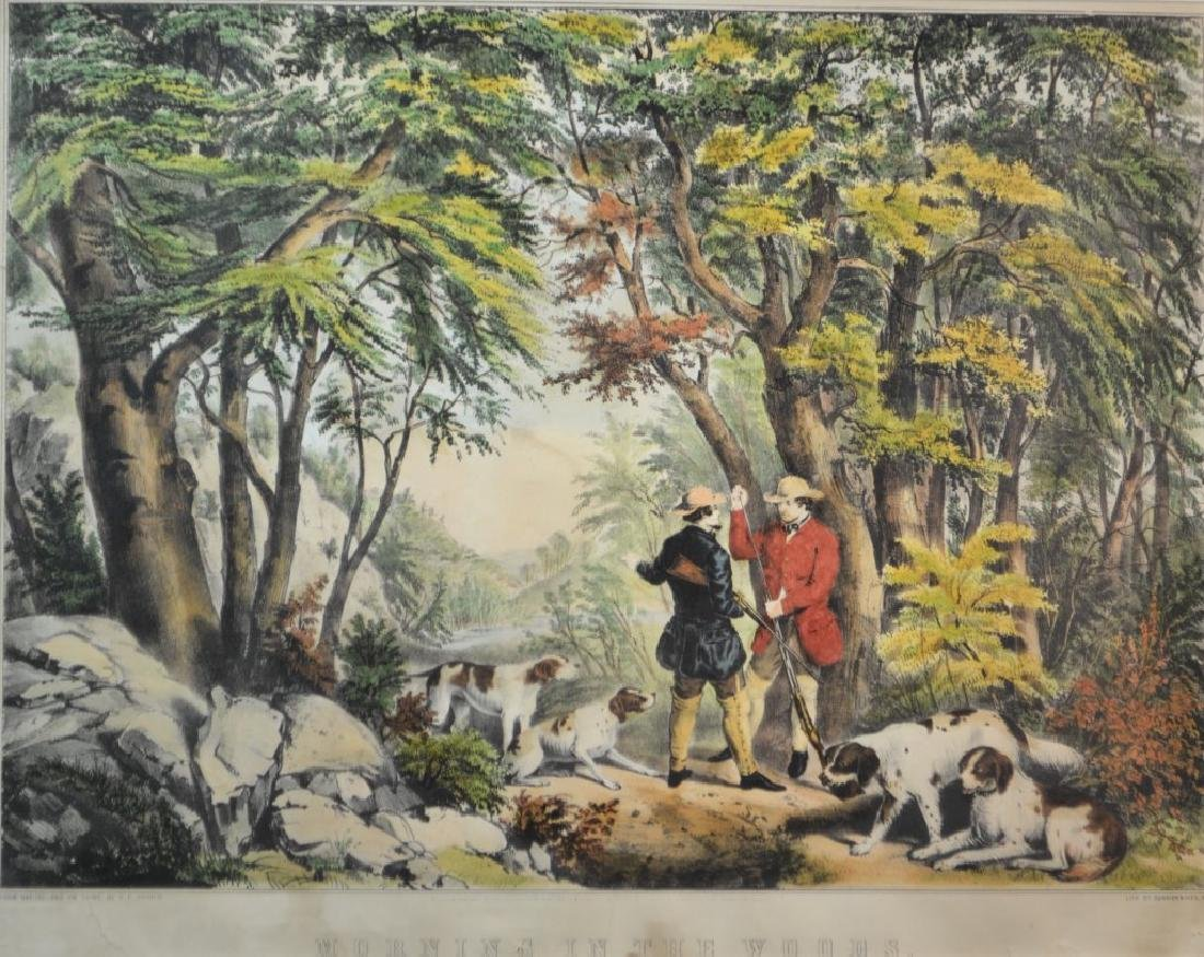 """19th C Currier & Ives """"Morning in the Woods' Litho - 2"""