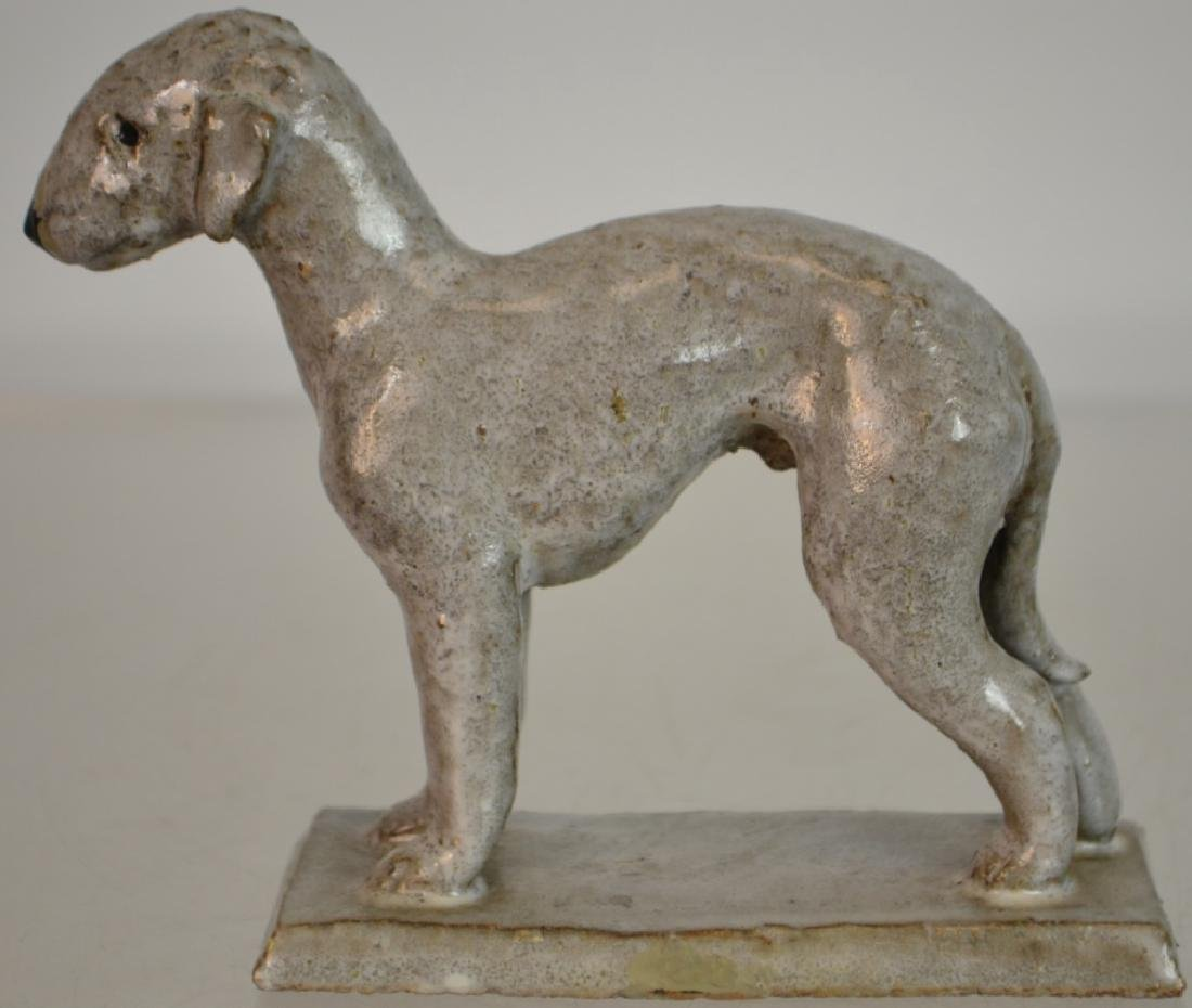Early Redware Terrier w/ White glaze