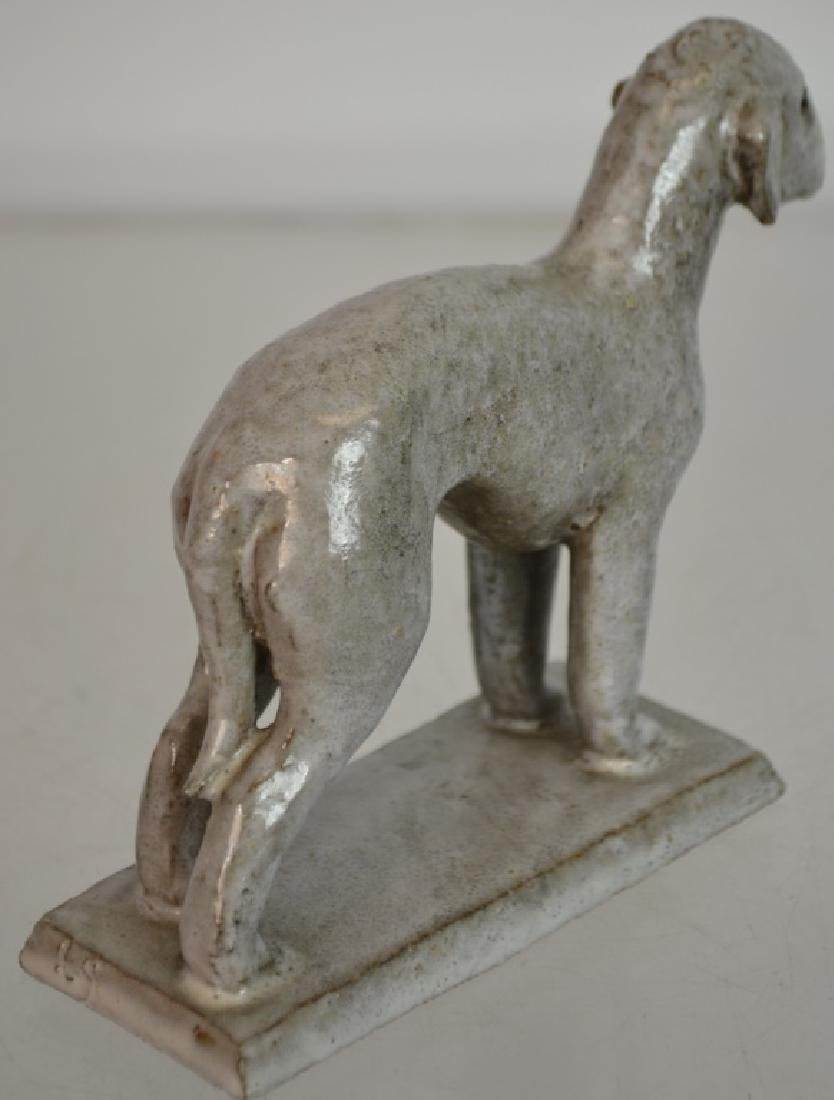 Early Redware Terrier w/ White glaze - 3