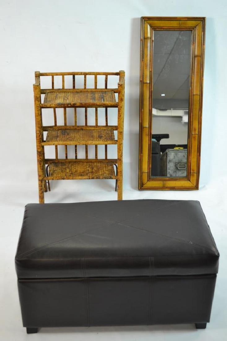 Bamboo Mirror, 3 Tier Shelf, Faux Leather Ottoman