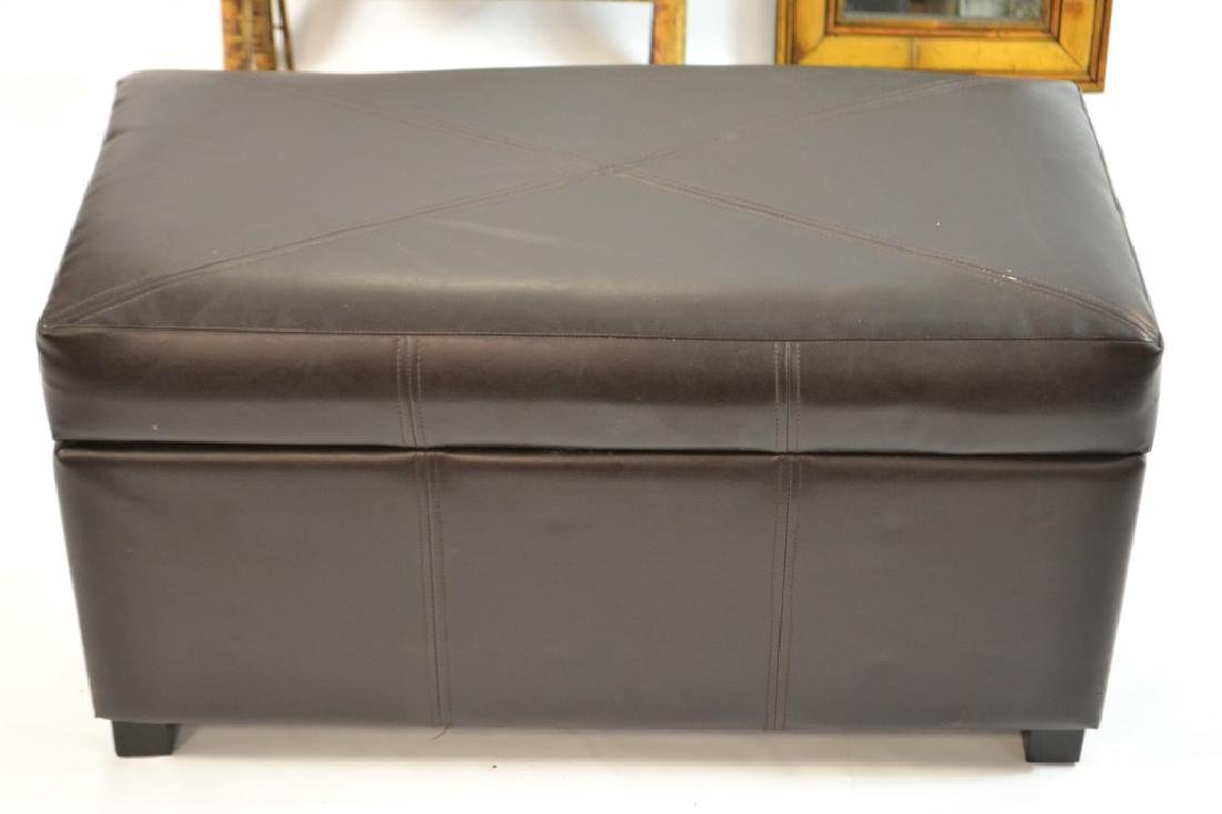 Bamboo Mirror, 3 Tier Shelf, Faux Leather Ottoman - 2