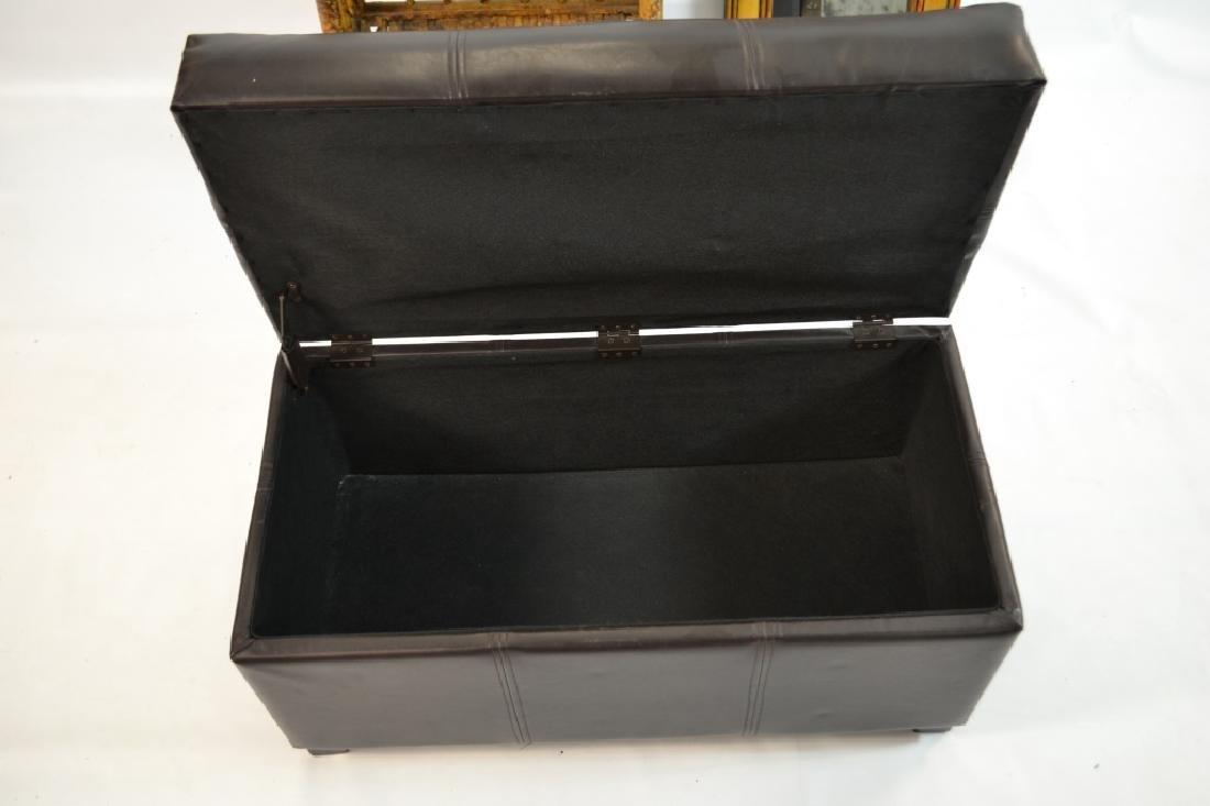 Bamboo Mirror, 3 Tier Shelf, Faux Leather Ottoman - 3