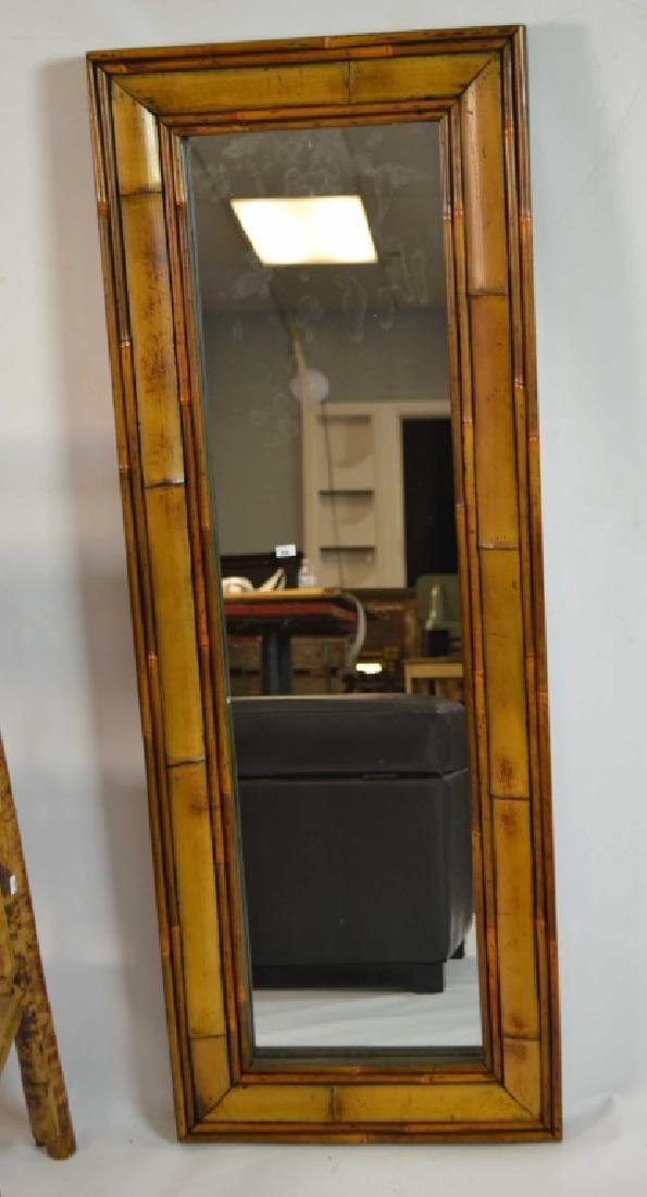 Bamboo Mirror, 3 Tier Shelf, Faux Leather Ottoman - 4