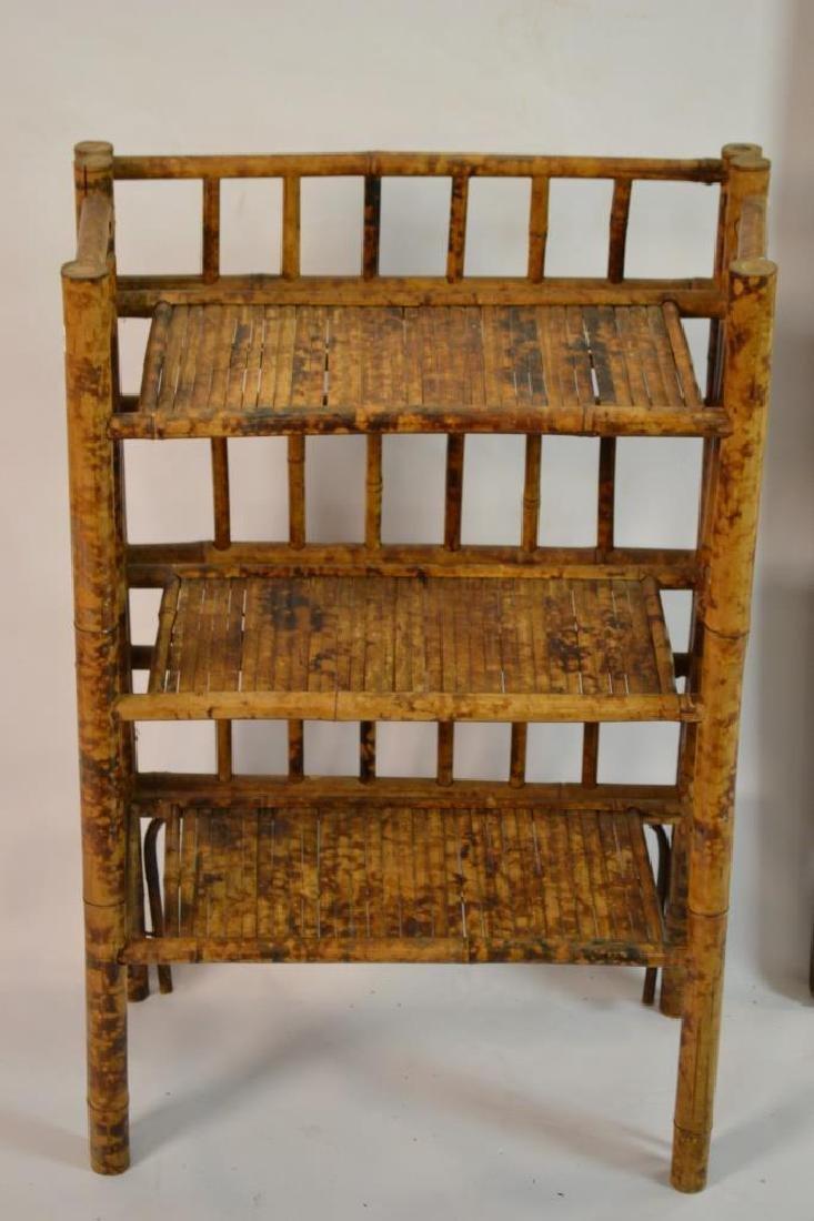 Bamboo Mirror, 3 Tier Shelf, Faux Leather Ottoman - 5