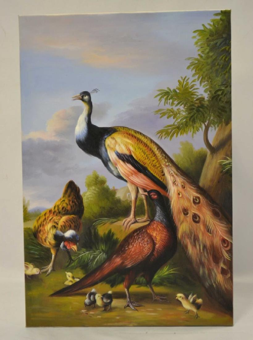 Oil On Canvas Of 3 Peacocks Unsigned