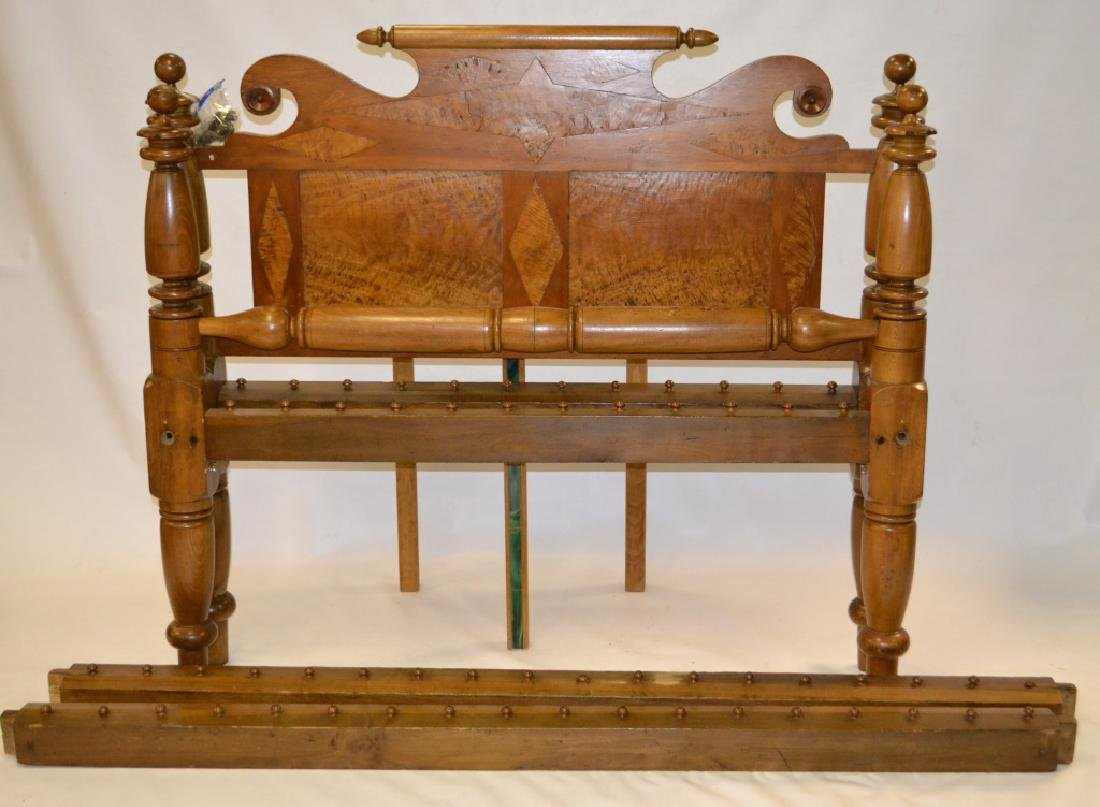19th C Curly Maple Inlaid Rope Bed