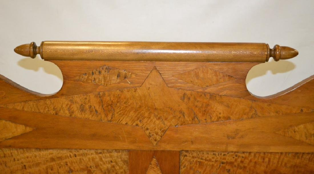 19th C Curly Maple Inlaid Rope Bed - 2
