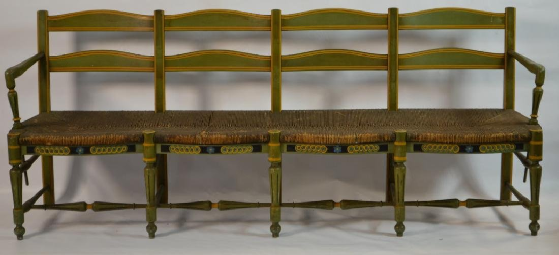 19th C French Green Painted Bench