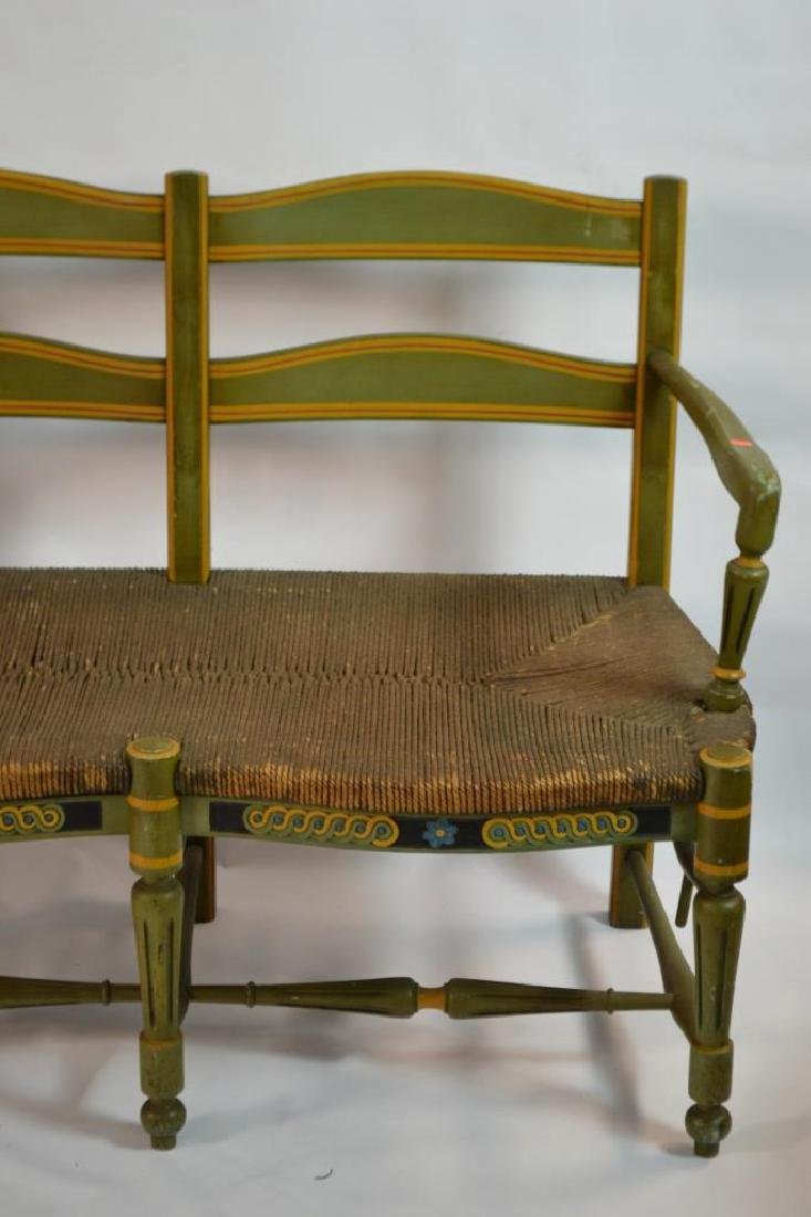 19th C French Green Painted Bench - 2