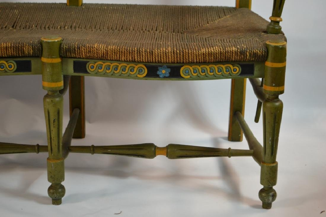 19th C French Green Painted Bench - 3