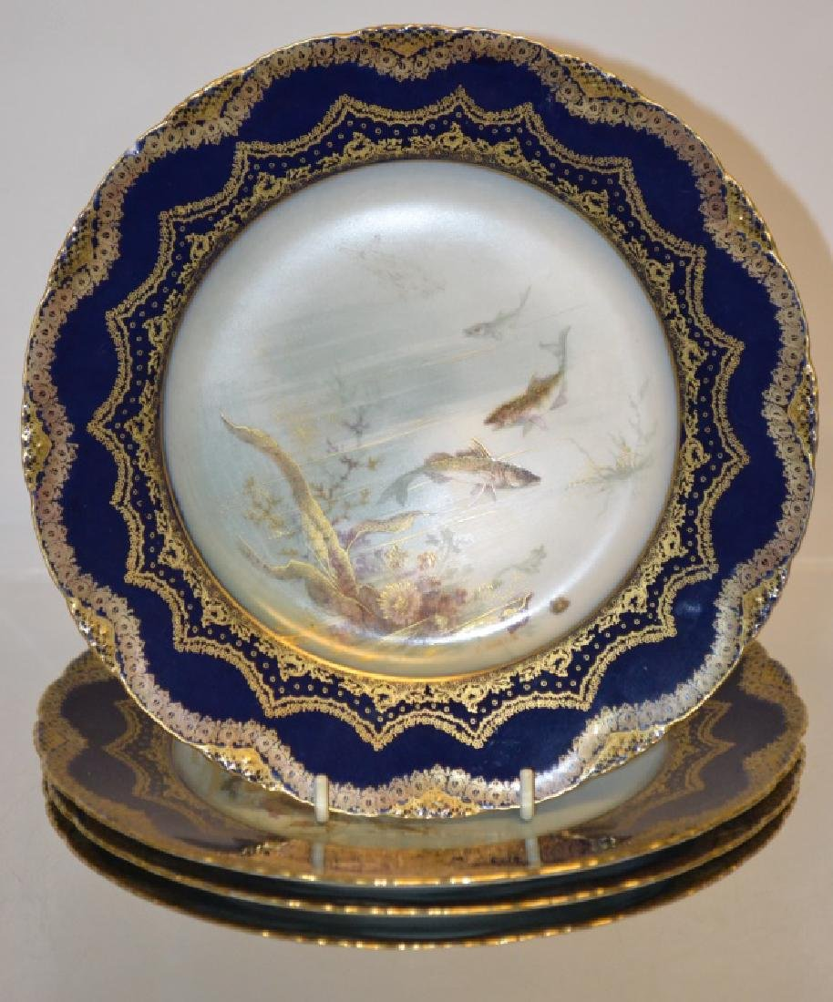 Haviland Limoges Cobalt and Gilt Sea Food Plates