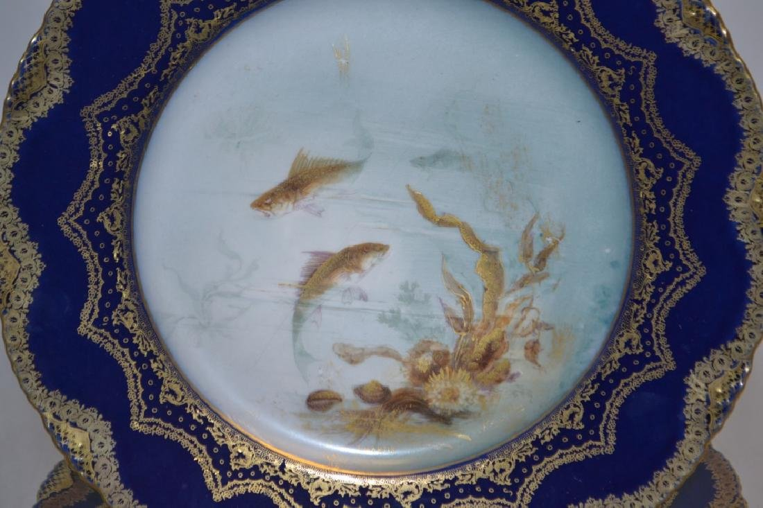Haviland Limoges Cobalt and Gilt Sea Food Plates - 4