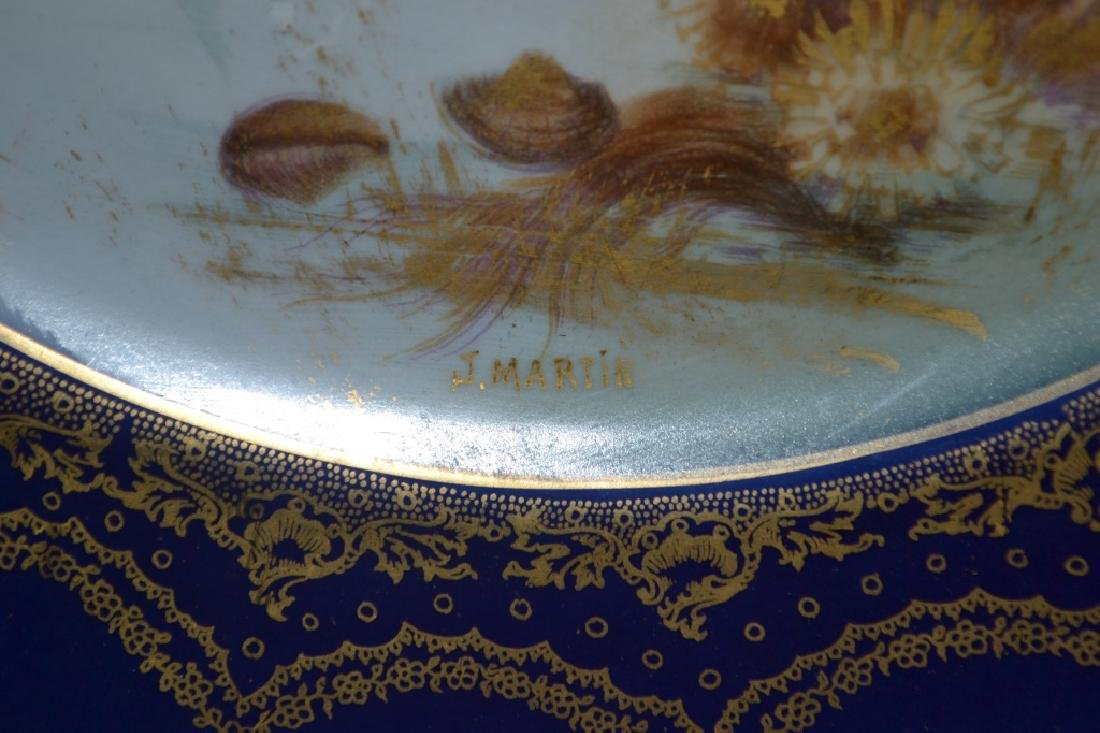 Haviland Limoges Cobalt and Gilt Sea Food Plates - 5