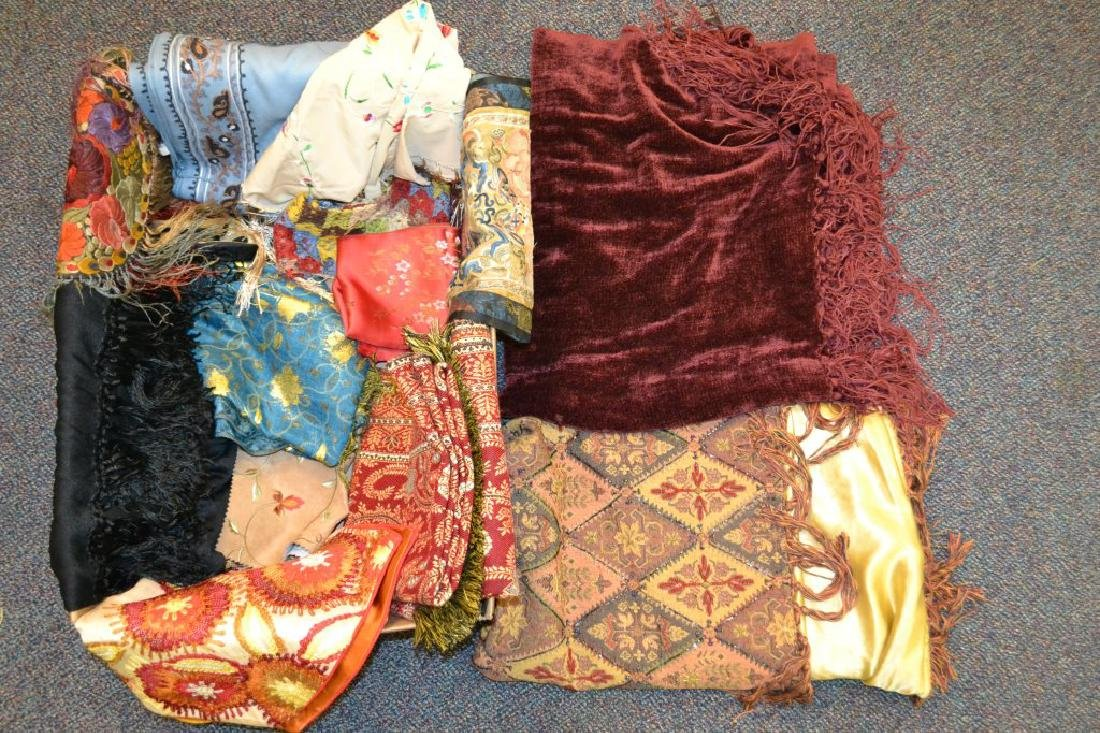 Large Grouping of Tapestries, Silks & Other Items