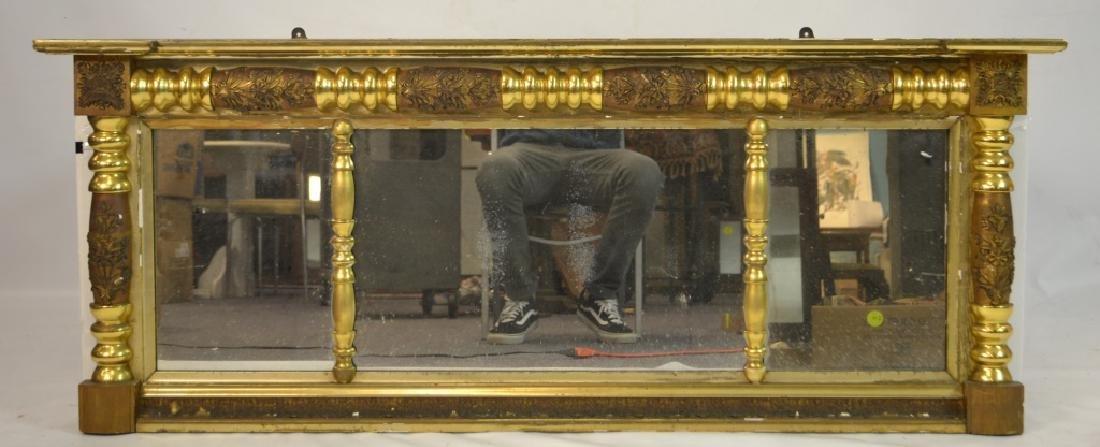 Large 3 Paneled Antique Gold Gilt Mirror