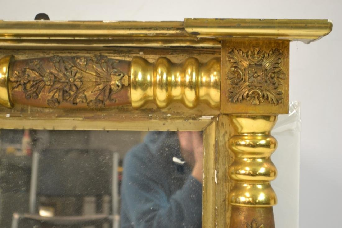 Large 3 Paneled Antique Gold Gilt Mirror - 2