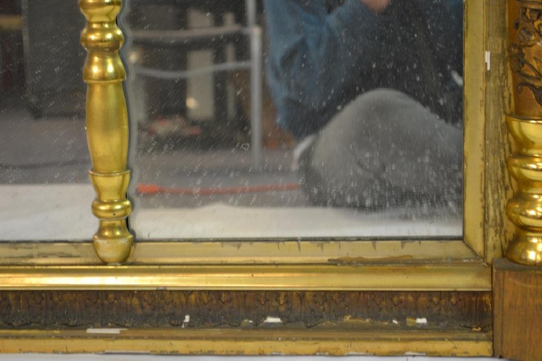 Large 3 Paneled Antique Gold Gilt Mirror - 3