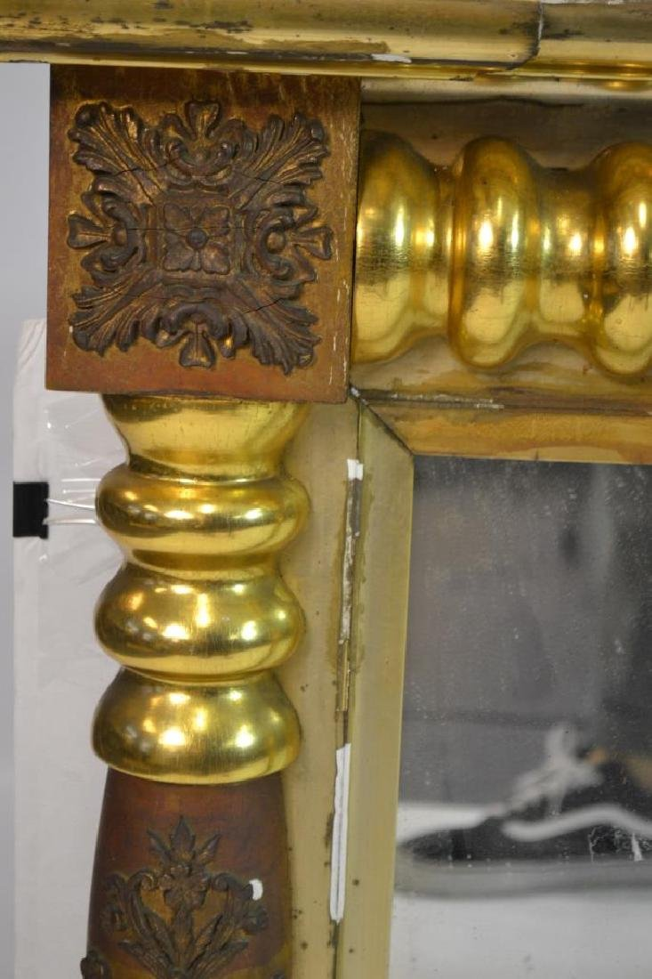 Large 3 Paneled Antique Gold Gilt Mirror - 4