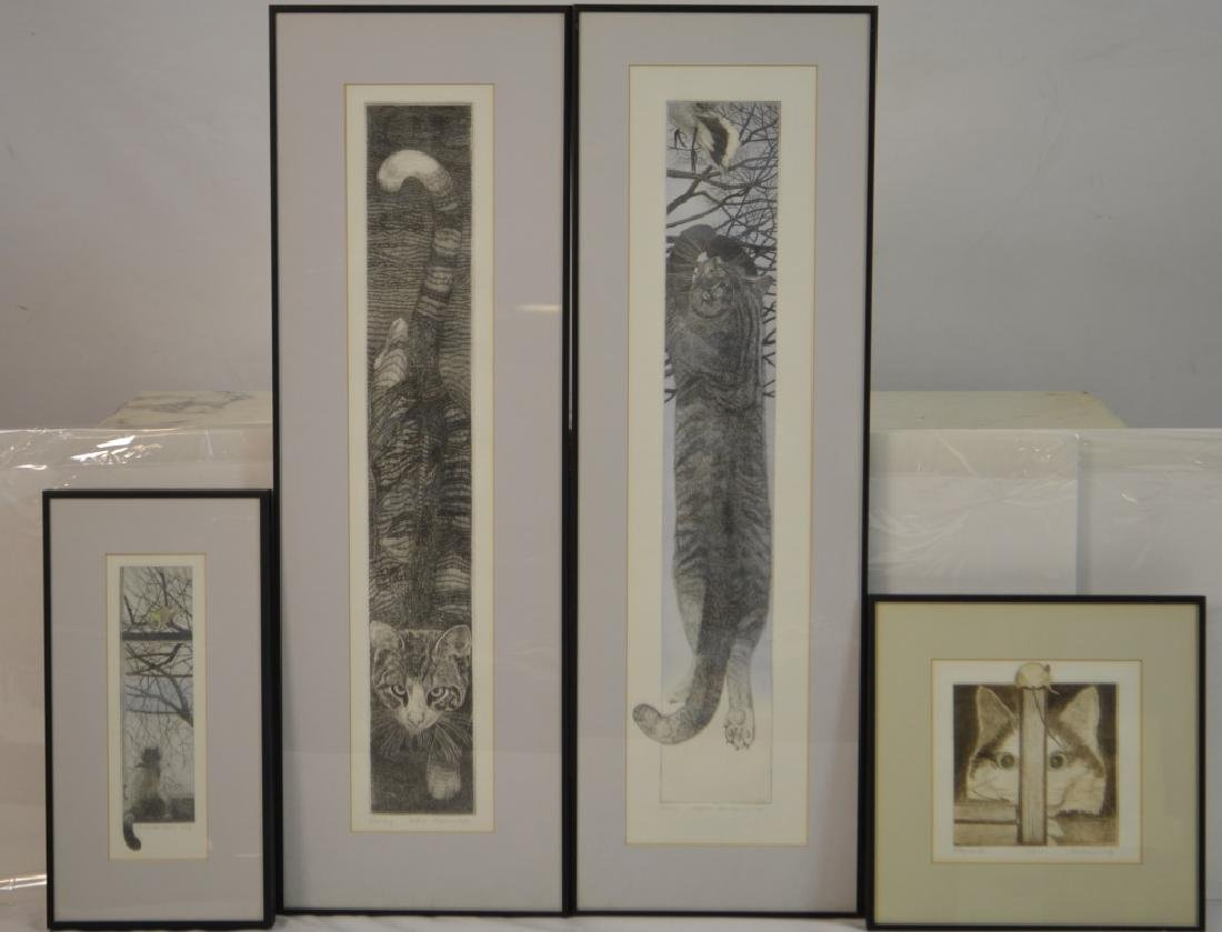 Four Richard Volpe Cat Engraving Prints Signed