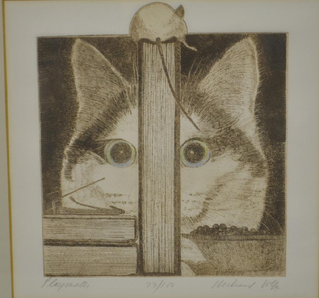 Four Richard Volpe Cat Engraving Prints Signed - 2