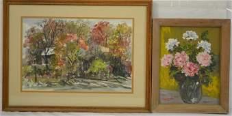 Two Walt Partymiller Watercolor Paintings