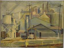 Donald Rich Industrial Modernist Oil on Canvas